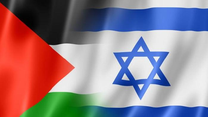 palestinian and israeli flags blend together