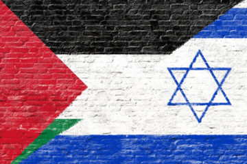 palestinian and israeli flags combined on a wall