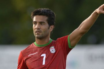 Iranian football player on the field