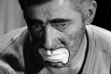 Jerry Lewis in character as the sad clown