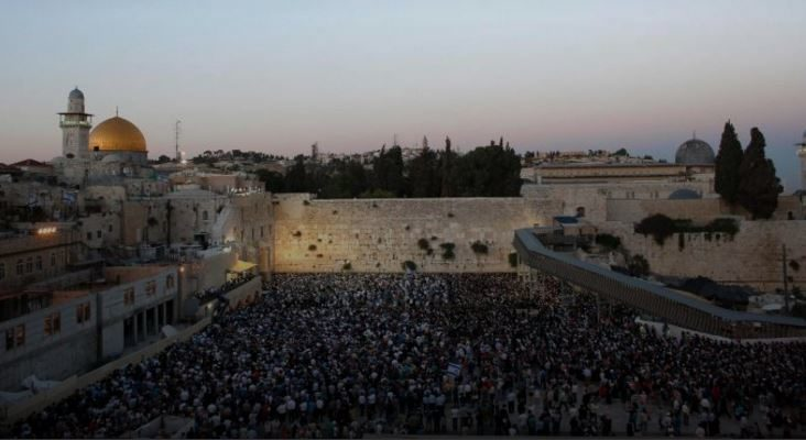 view of kotel full of people