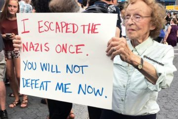 lady holding her sign