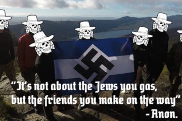 7 people holding swastika flag with their faces photoshopped with skulls