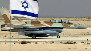 israeli fighter jet and israeli flag in foreground