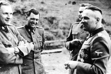 Auschwitz commanders and Mengele sharing a joke