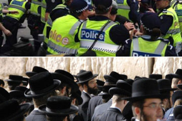 2 photos one of vic police and the other religious jews at the kotel