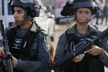 two israeli border policewomen on patrol
