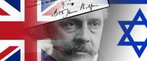 british and israeli flag with face and declaration superimposed