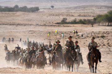 long line of cavalry in the Israeli desert