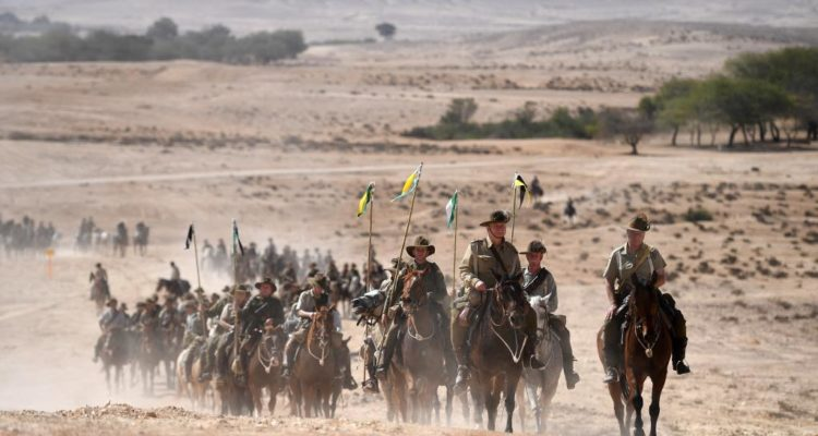 long line of cavalry in the Israeli desert