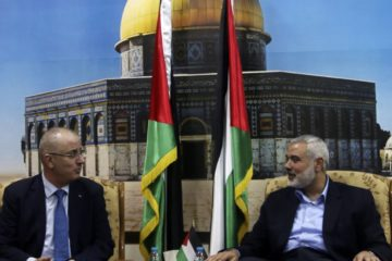 Palestinian-prime-minister-Rami-Hamdallah-and-senior-Hamas-official-Ismail-Haniyeh