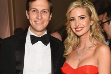 Jared Kushner posing with wife Ivanka in black tie at fancy event