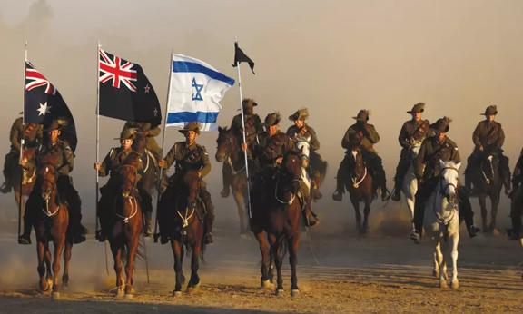 light horse soldiers in formation in Israel for the commemoration