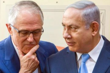 Prime Ministers Turnbull and Netanyahu close up in conversation