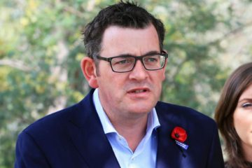 Daniel Andrews talking at an outdoor press conference