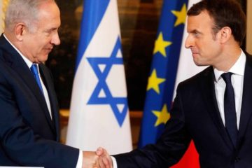 a very acrimonious handshake between the leaders, netanyahu and macron