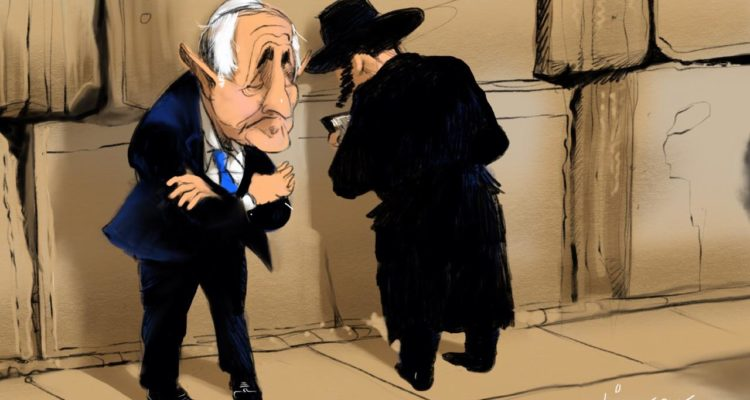cartoon of religious man praying at the kotel and an old man in a suit with his back turned away from the kotel looking miserable. not sure who that man is meant to be