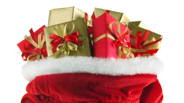 stock photo of santa sack filled with presents