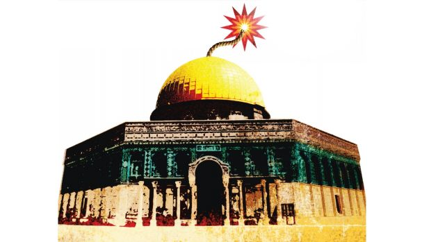 illustration of dome of the rock with a fuse coming out of the top like a bomb