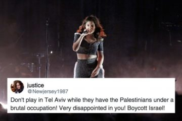 lorde on stage, with a twitter message over the top regarding her trip to israel