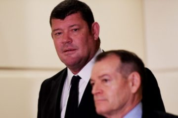 James Packer and someone else in foreground of photo