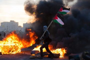 protester with face covered by keffiyeh holding palestinian flag, standing in front of wall of fire and smoke