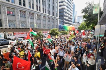 large crowd of protesters waving palestinian flags in melbourne street