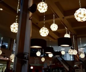 photo of the ceiling of the restaurant lots of lights