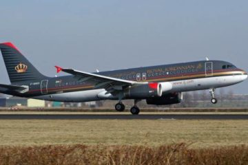 Royal Jordanian plane taking off