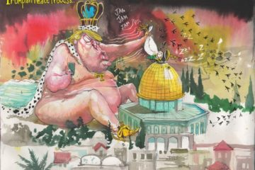 cartoon of trump, grotesque sitting like a naked baby king with gold shoes in a sandbox with the dome of the rock, with a peace dove in his hands trying to shove it down the top of the dome