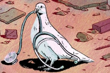 cartoon of peace dove standing amid rubble, with a stethoscope in its mouth