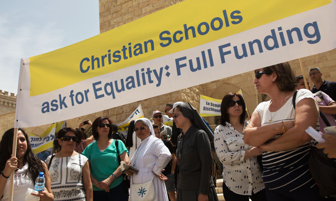 christians striking in Israel on first day of school