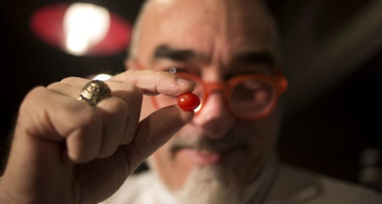 guy holding the small tomato between his fingers. the tomato is in focus in the foreground