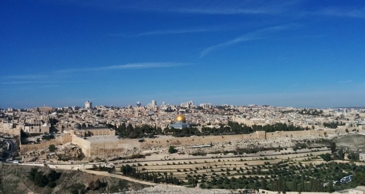 beautiful distant view of jerusalem with blue skies