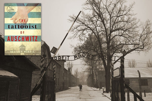 the book cover in the corner over the black and white image of the auschwitz gates